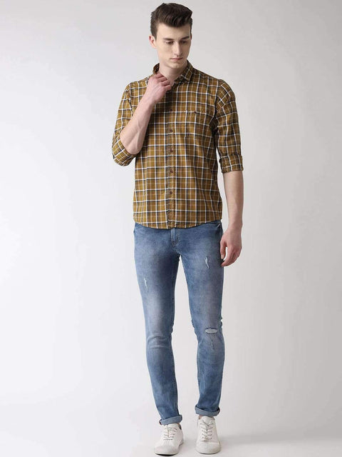 Beige Checkered Casual Shirt full view