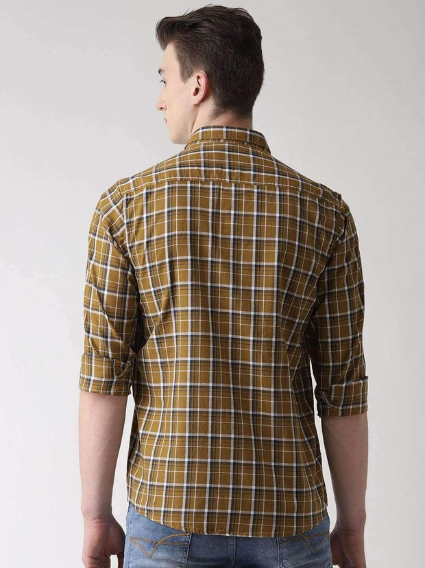 Beige Checkered Casual Shirt back view