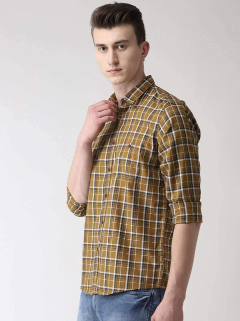 Beige Checkered Casual Shirt side view