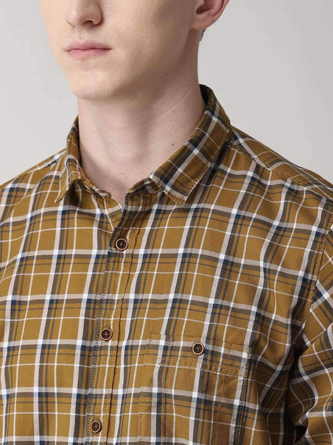 Beige Checkered Casual Shirt close view