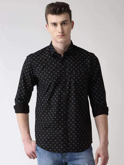 Black Printed Slim Fit Casual Shirt