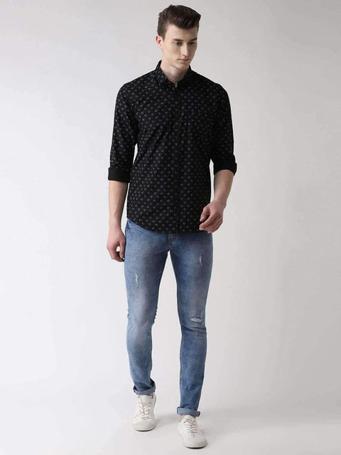 Black Printed Slim Fit Casual Shirt full view