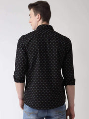 Black Printed Slim Fit Casual Shirt back view