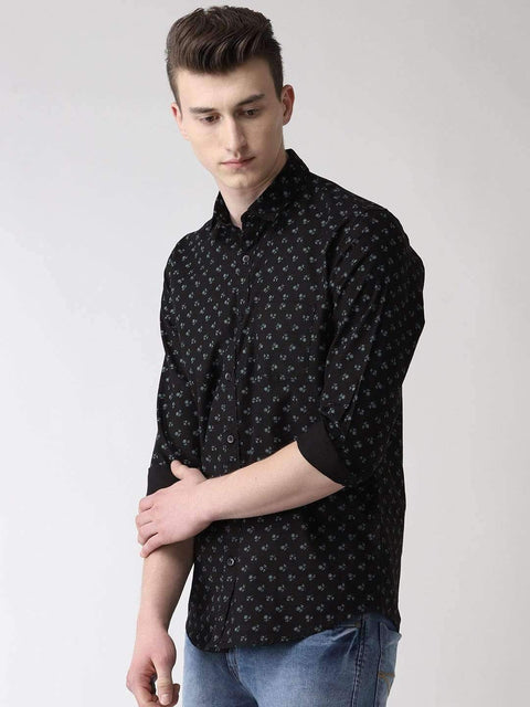 Black Printed Slim Fit Casual Shirt side view