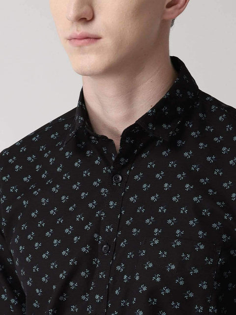Black Printed Slim Fit Casual Shirt for men