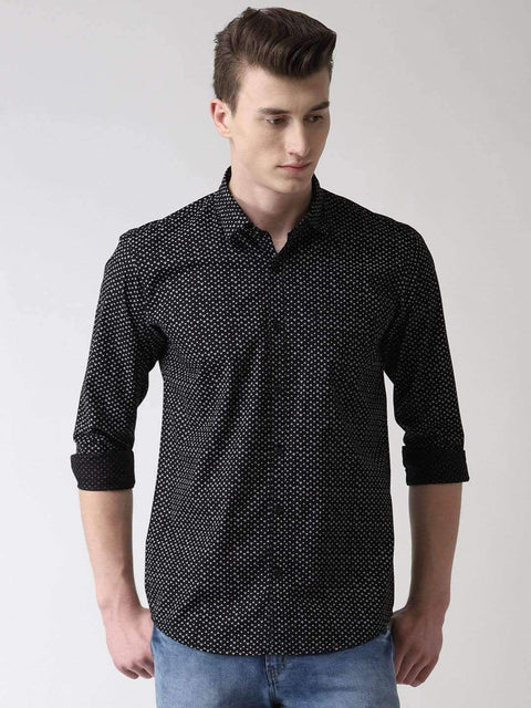 Richlook Casual Shirt Black Printed Slim Fit Casual Shirt