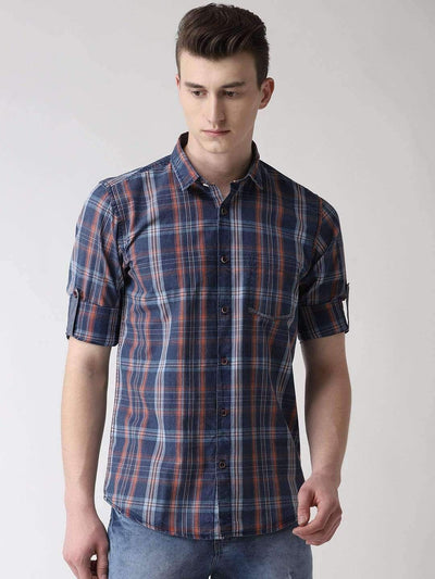 Richlook Casual Shirt Blue and Red Checkered Slim Fit Casual Shirt