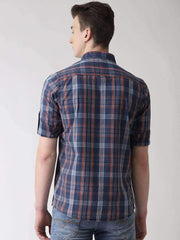 Blue & Red Casual Shirt back view