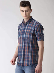 Blue & Red Casual Shirt side view