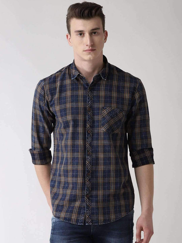 Buy Blue, Brown & Turmeric Slim Fit Casual Shirt