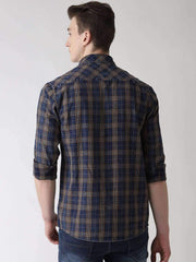 Blue, Brown & Turmeric Casual Shirt Back View
