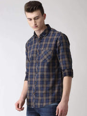 Blue, Brown & Turmeric Casual Shirt Side View