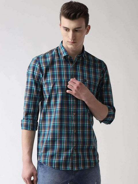 Blue & Green Casual Shirt