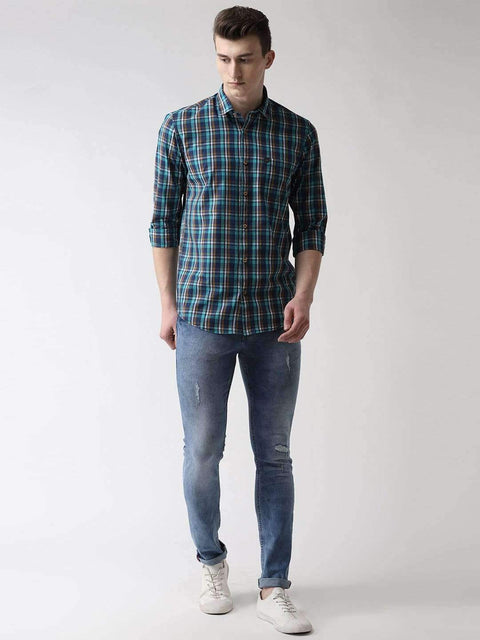 Blue & Green Casual Shirt Full View