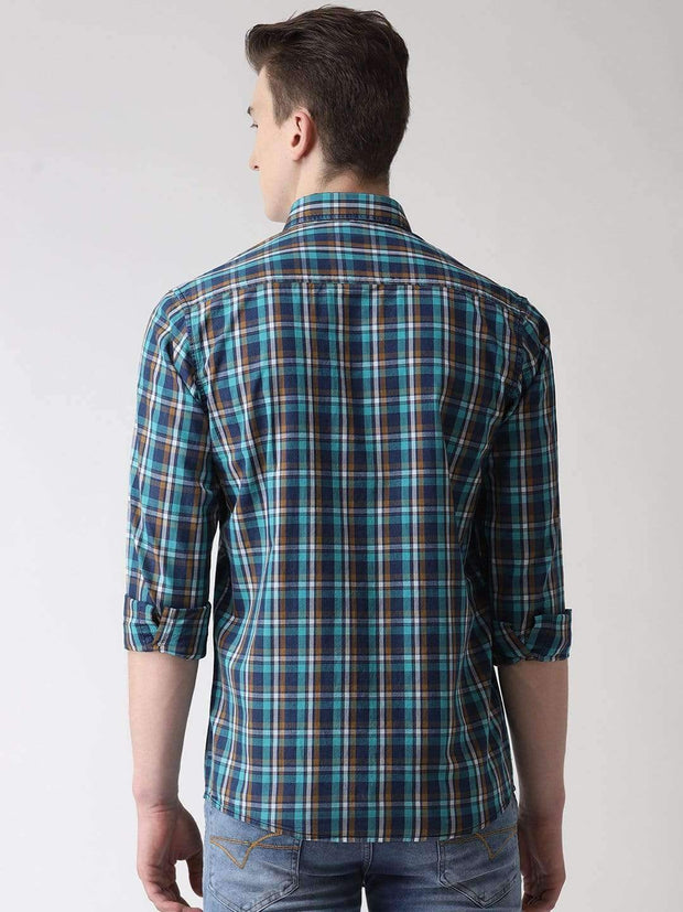 Blue & Green Casual Shirt Back View
