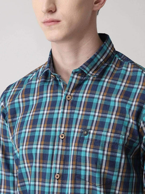 Blue & Green Casual Shirt Close View