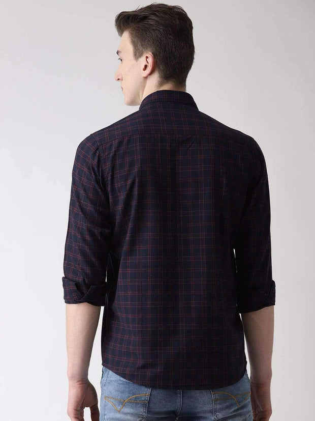 Blue & Maroon Casual Shirt back view