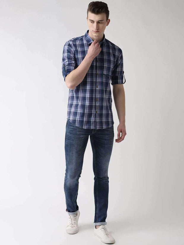 Richlook Casual Shirt Blue & Sky Blue Slim Fit Checkered Casual Shirt