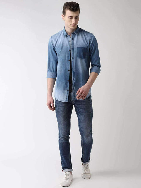 Blue Solid Casual Shirt full view