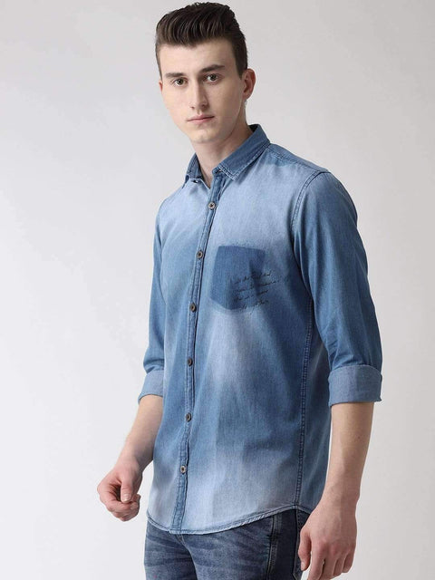 Blue Solid Casual Shirt side view