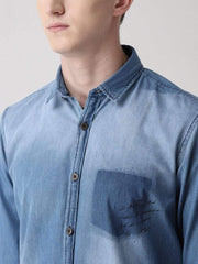 Blue Solid Casual Shirt for men