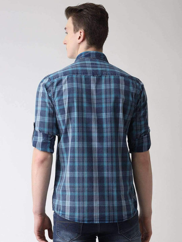 Blue & White Casual Shirt back view