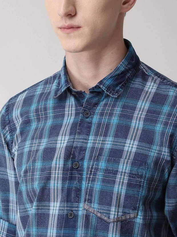 Blue & White Casual Shirt for men