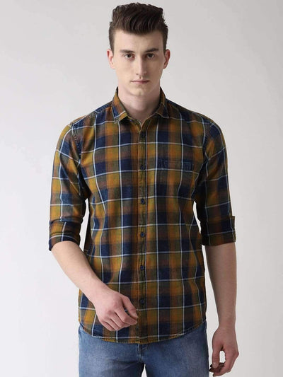 Brown, Green and Black Casual Shirt