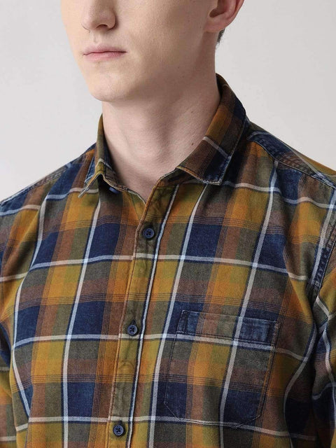 Brown, Green and Black Casual Shirt for men