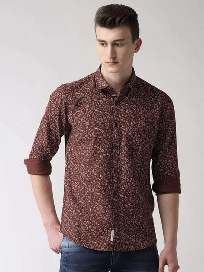 Brown Printed Casual Shirt