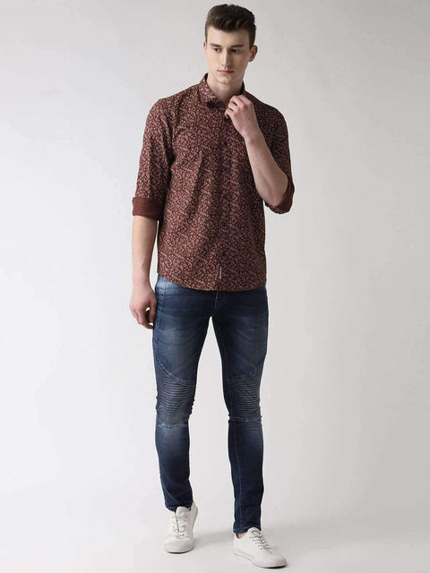 Brown Printed Casual Shirt full view
