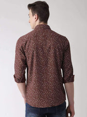 Brown Printed Casual Shirt back View