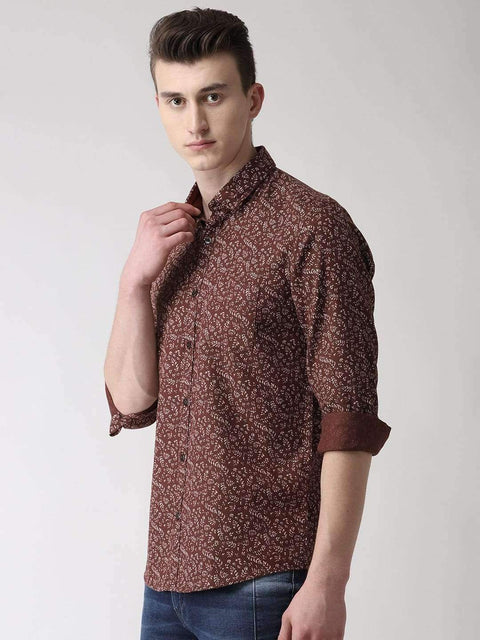 Brown Printed Casual Shirt side view