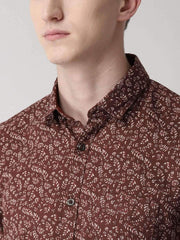 Brown Printed Slim Fit Casual Shirt