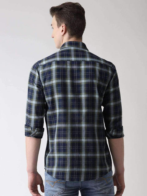 Richlook Casual Shirt Green & Black Slim Fit Checkered Casual Shirt