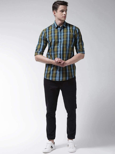 Green Casual Slim Fit Shirt full view