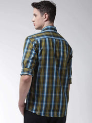 Green Casual Slim Fit Shirt back view
