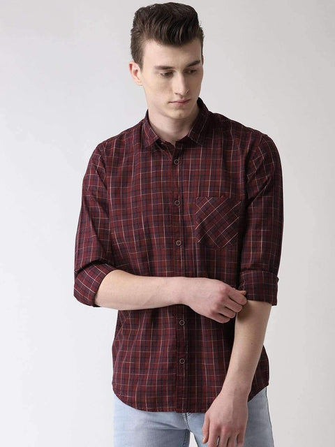 Maroon & Blue Casual Shirt