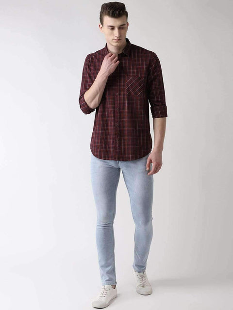 Maroon & Blue Casual Shirt Full View