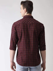 Maroon & Blue Casual Shirt back view