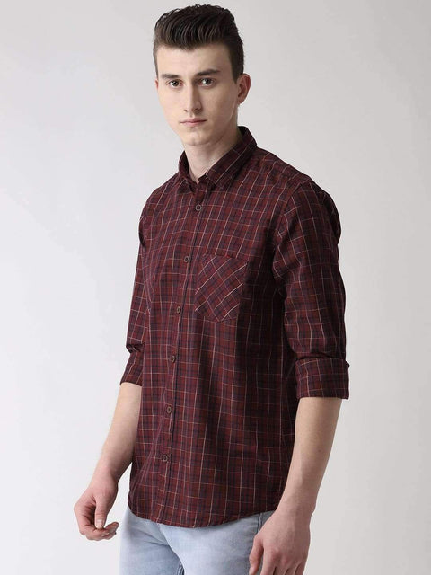 Maroon & Blue Casual Shirt side view