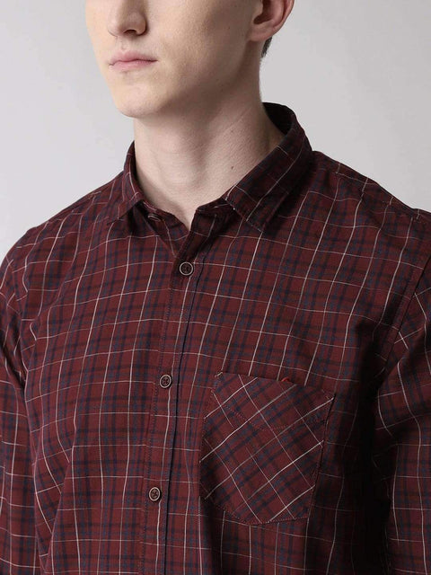 Maroon & Blue Casual Shirt for men