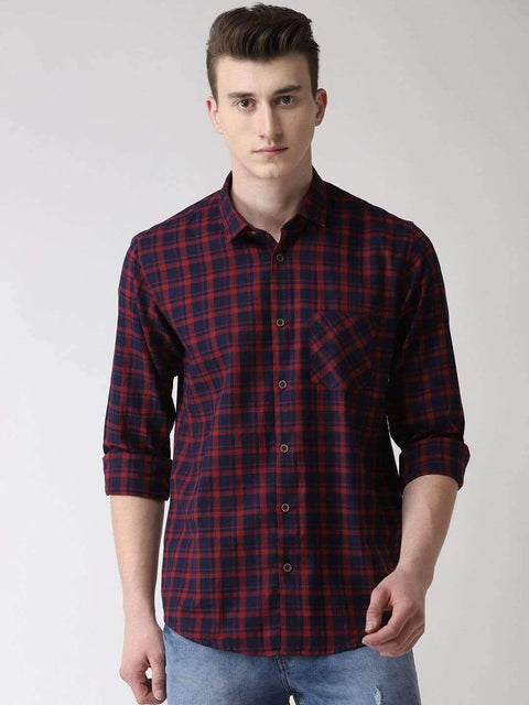 Maroon & Blue Checkered Shirt