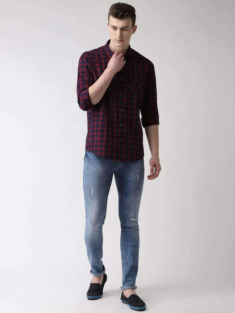 Maroon & Blue Checkered Shirt Full view