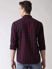Maroon & Blue Checkered Shirt Back view