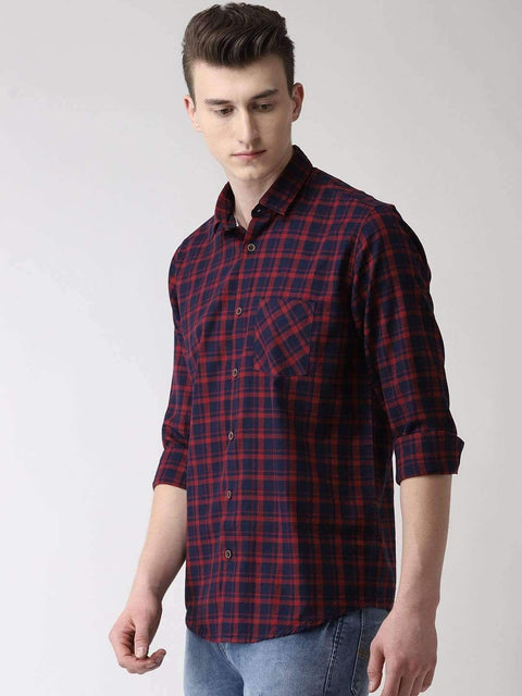 Maroon & Blue Checkered Shirt side view