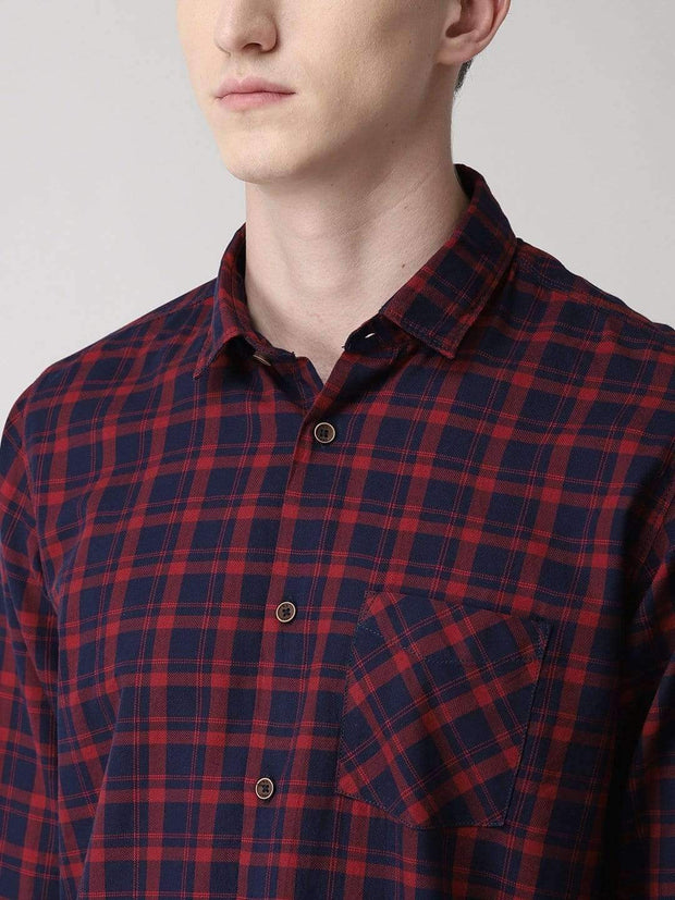 Maroon & Blue Checkered Shirt for men