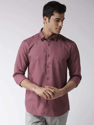 Burgundy Regular Fit Printed Smart Casual Shirt