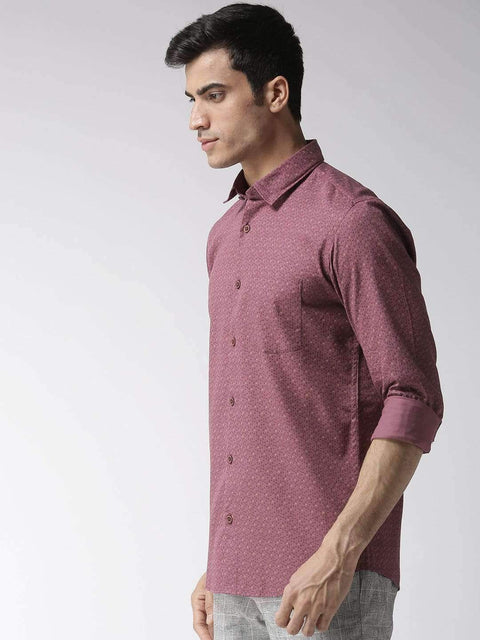 Burgundy Regular Fit Printed Smart Casual Shirt side view