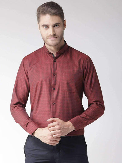 Richlook Casual Shirt Men Maroon & Brown Regular Fit Self Design Smart Casual Shirt